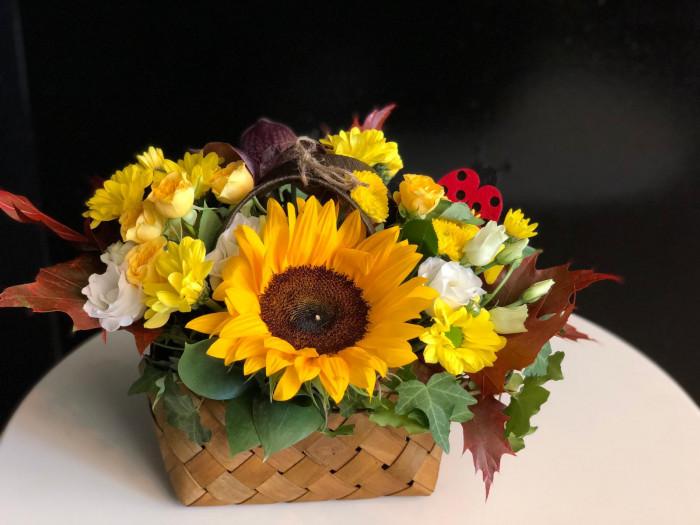 Gentuta cu floarea soarelui si crizanteme