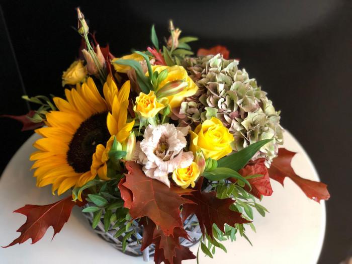 Mix hortensie si floarea soarelui