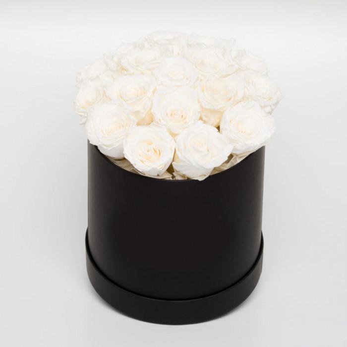 Cutie neagra cu Trandafiri Criogenati Albi