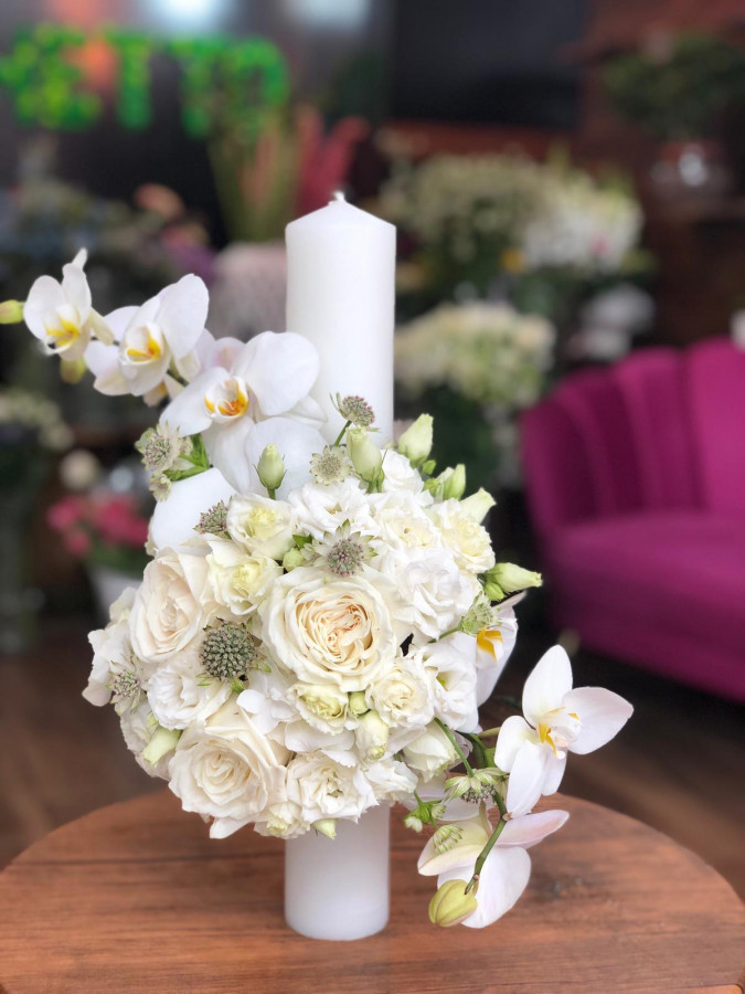 Lumânare de cununie cu orhidee albă